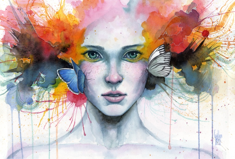 Satori · Watercolour, pastel and acrylic on paper. 49x33cm. Acuarela, pastel y acrílico sobre papel. 46x31cm. 350€.-